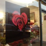Hand painted Valentine display on flower shop window